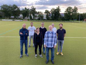 Unser neues Vorstandsteam (v.l.n.r): Rolf Kübeler (Kassenwart), Dominik Nopper (Schiri-Obmann), Malena Nopper (Jugendleiterin), Michael Merklinger (2. Vorsitzender), Joachim Oberecker (1. Vorsitzender), Michael Nopper (Schriftführer), Thomas Gallmann (Sportwart)